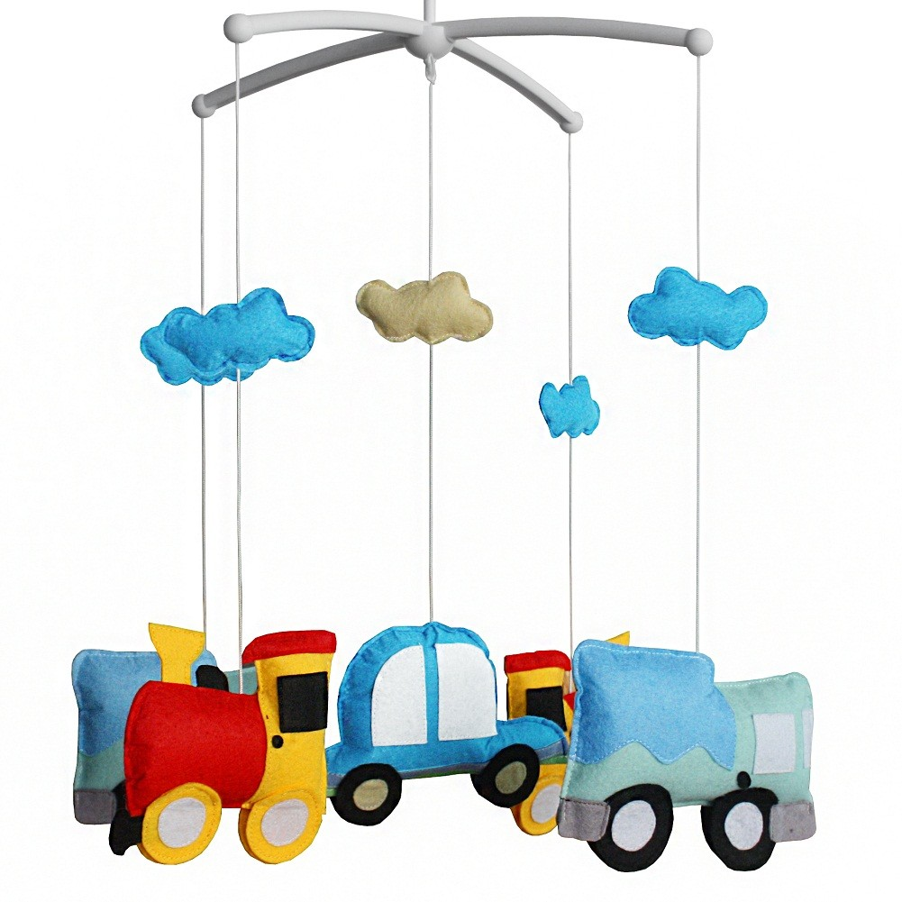 Musical Mobile Baby Crib Rotatable Cute Cartoon Vehicles Bed Bell