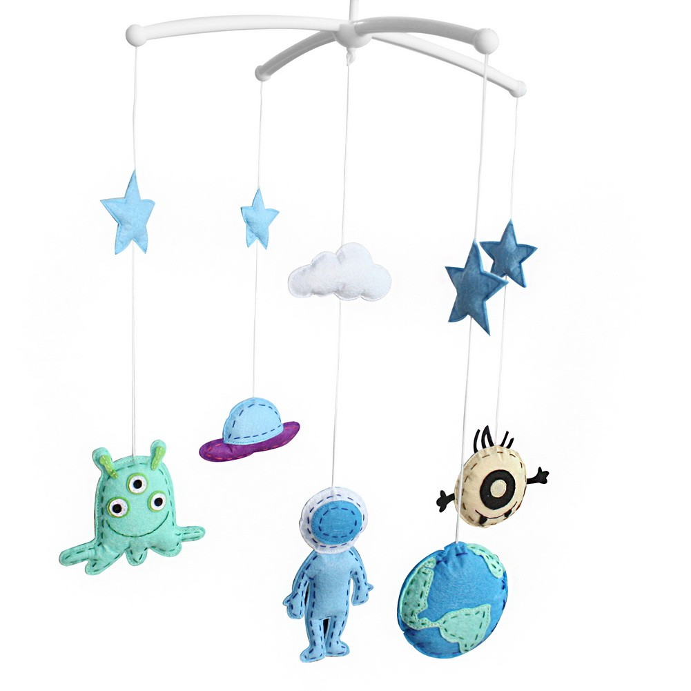 [Outer Space] Unisex Baby Crib Bell Stroller Car Seat Rotatable Musical Mobile