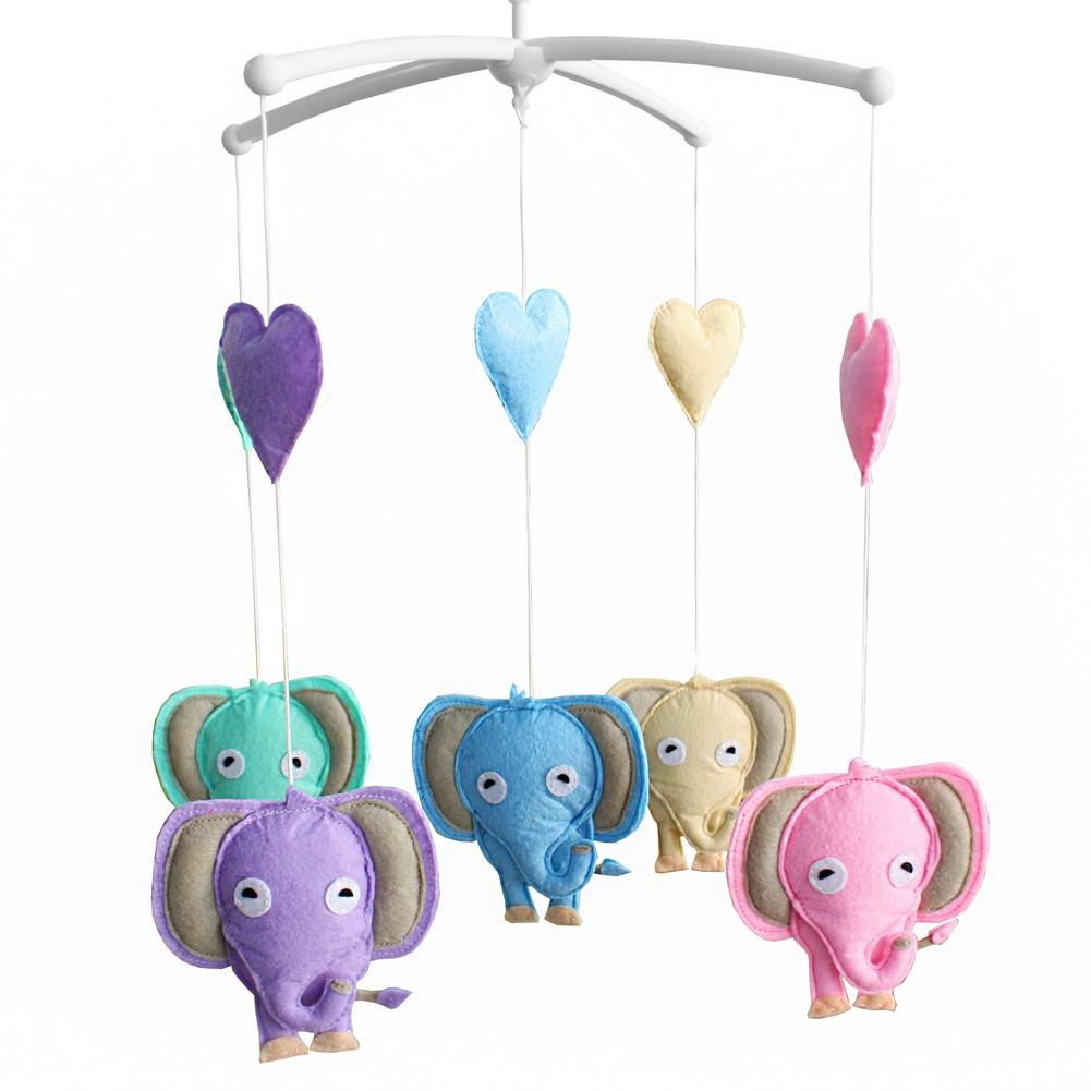 Unisex Baby Crib Rotatable Musical Mobile [Happy Elephants]