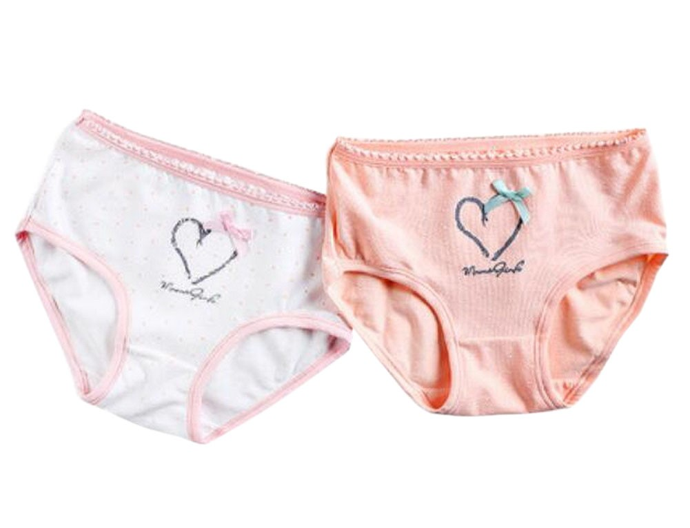 Set of 2, Girls Soft Cotton Panties Comfortable Underwear [Heart]