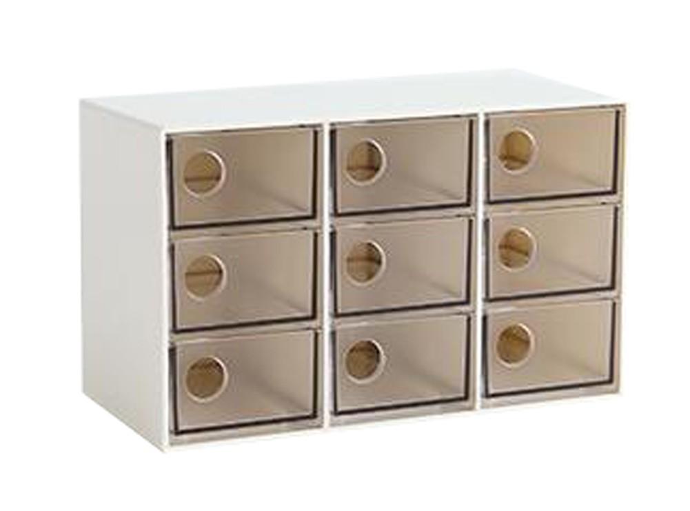 Modern Office Plastic Desktop Storage Drawer Organizer-9 Storage Cabinets Brown
