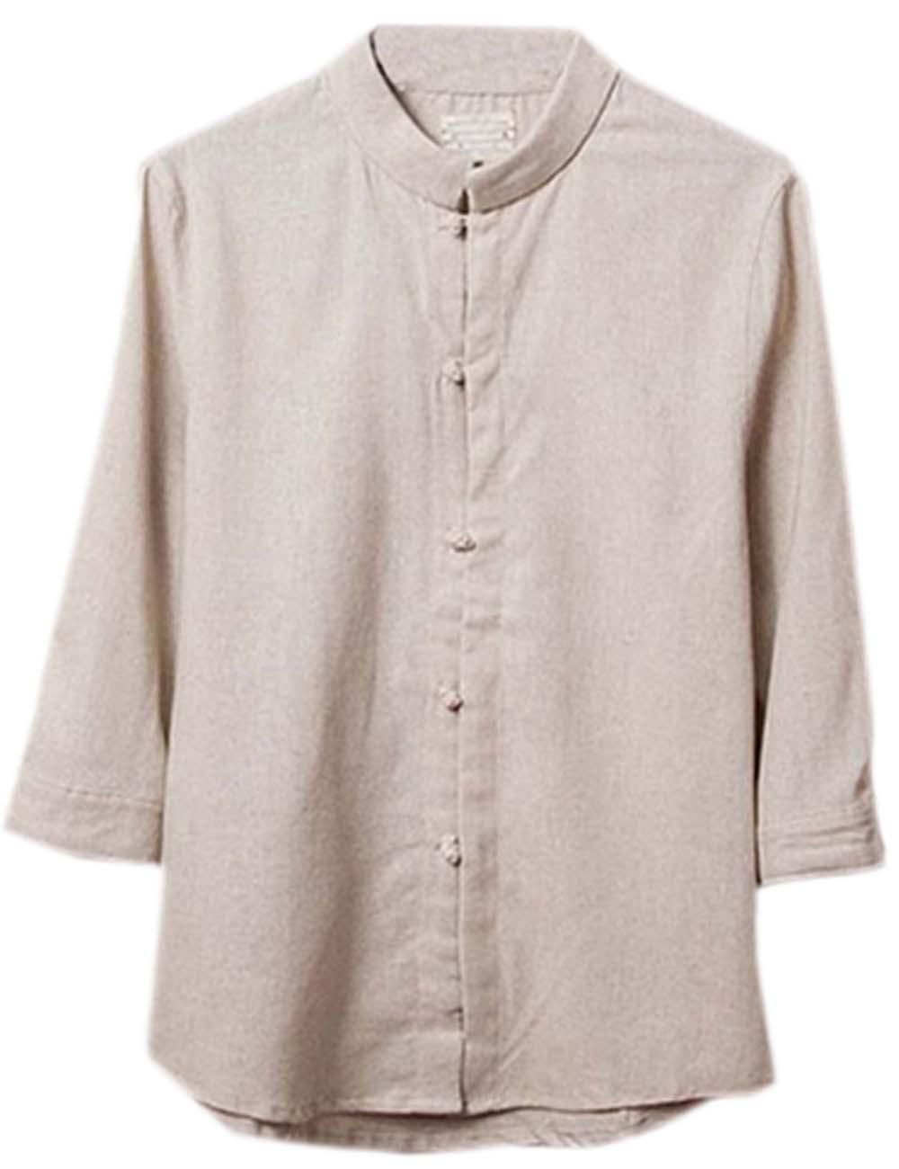 [BEIGE] Fashion Men Flax Chinese Short Sleeve KungFu Cloth Men Shirt,XXL