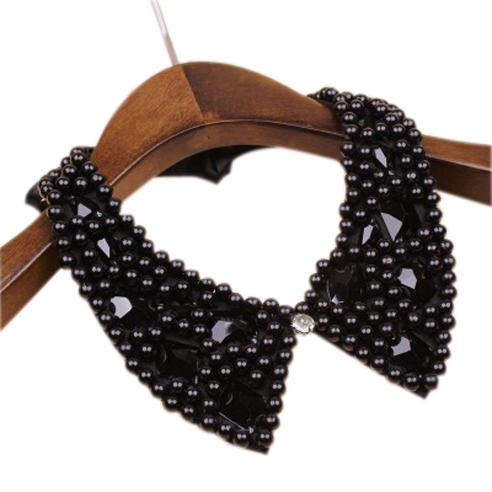 Elegant Black Beads Acryl Diamond Detachable Shirt False Collar/Adjustable