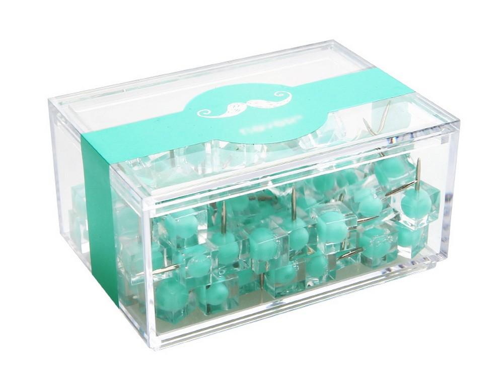 Creative Push Pins Office Thumb Tacks Decorative Pushpins 80Pcs Mint Green Clear