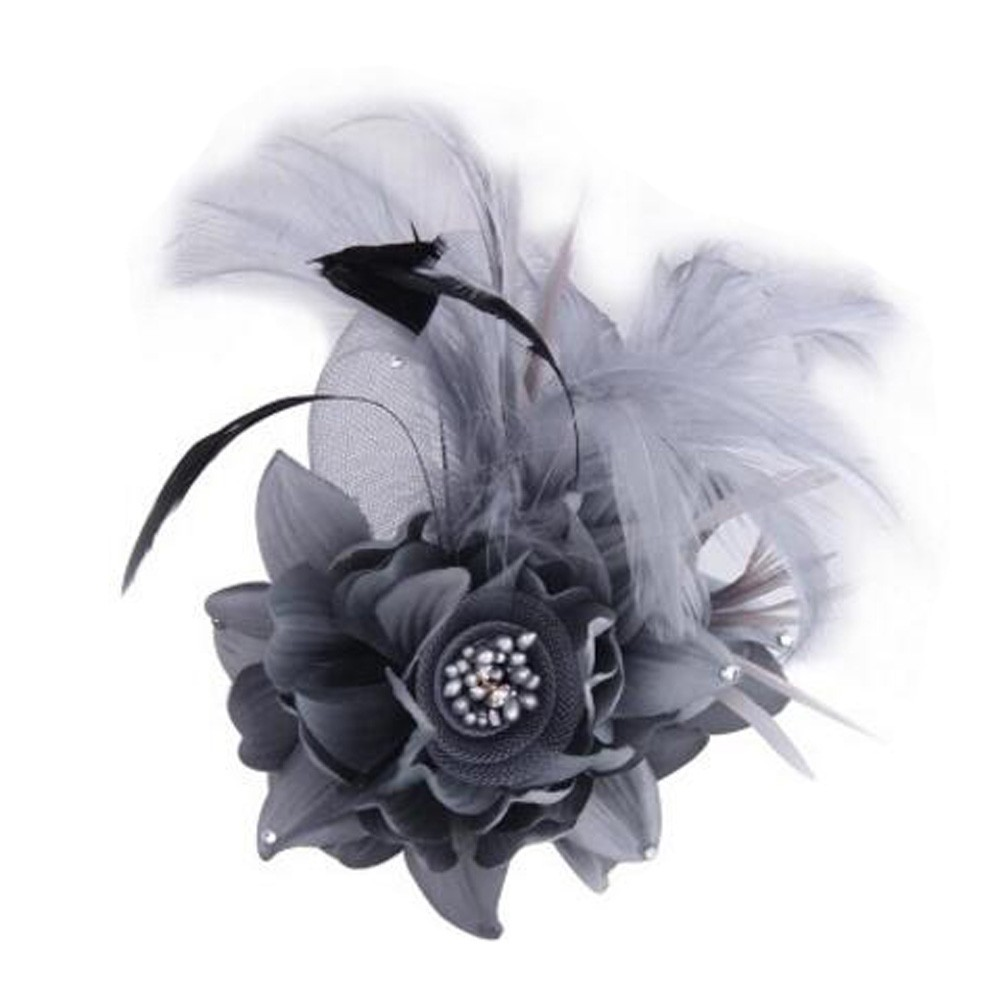 Ladies Retro Pin Brooches Hair Decor Feather And Cloth Flower Brooches, Grey