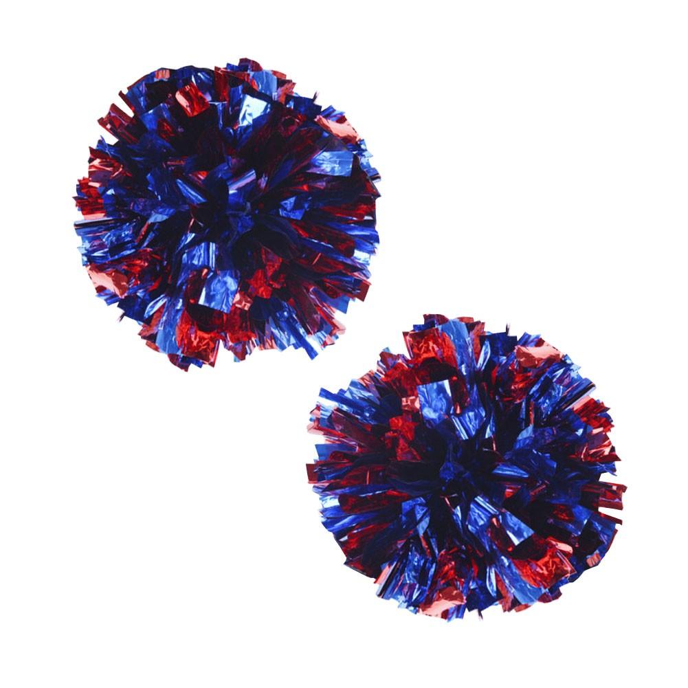 Set of 2 Plastic Ring Pom Metallic Cheerleading Poms 100g Red+Blue