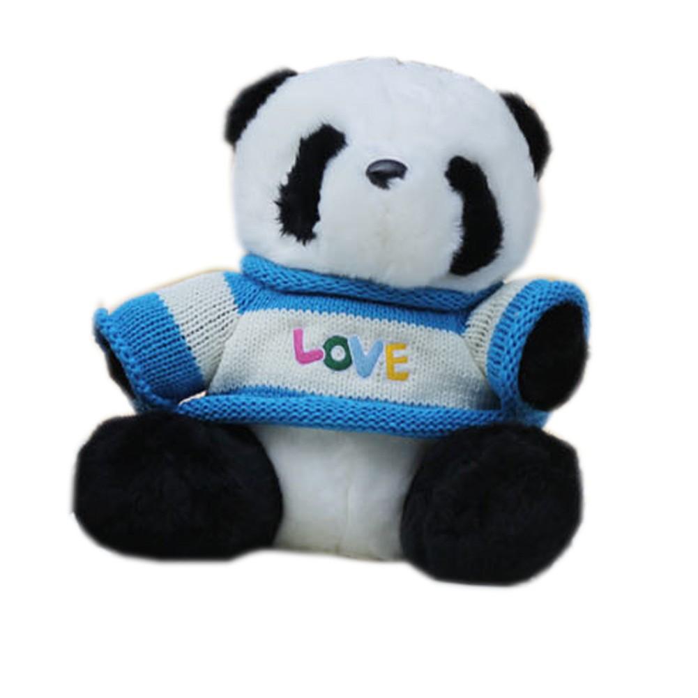 Adorable Panda Plush Toy Soft Stuffed Animal, Blue Shirt
