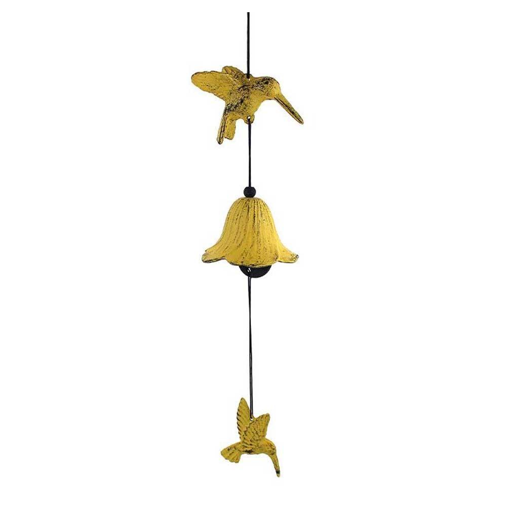 Vintage Hummingbird Wind Chime Bell Door Entrance Shopkeeper Cast Iron Windchime for Garden, Yellow