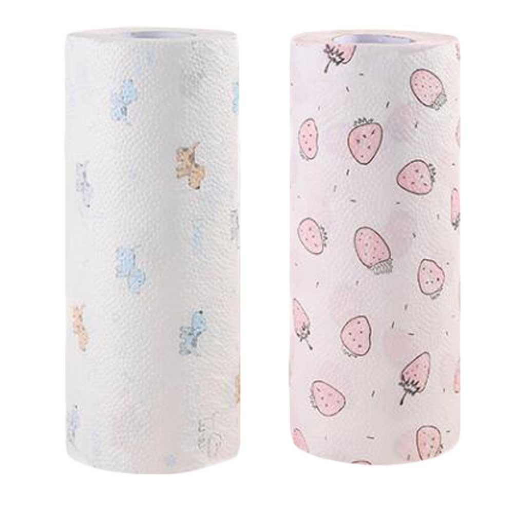 2 Rolls Random Color Disposable Kitchen Paper Towels Printed Kitchen Tissue Rolls