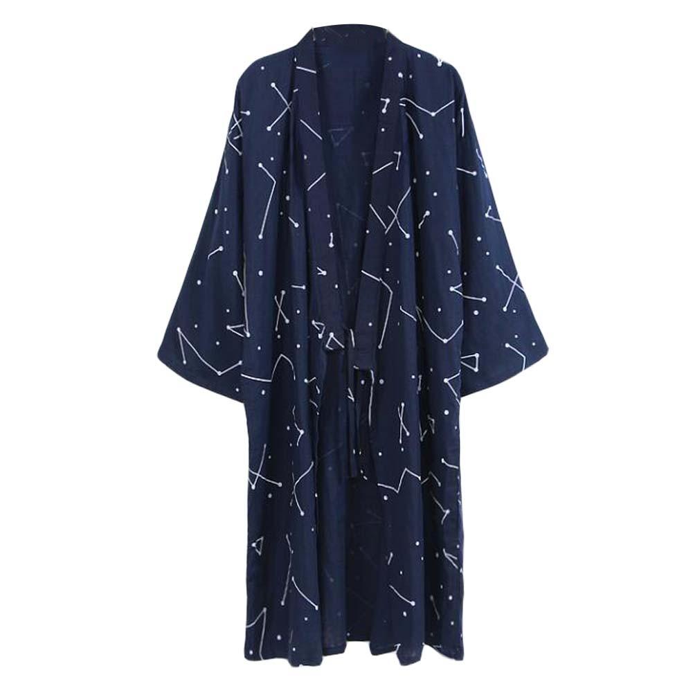 Men's Japanese Style Robes Kimono Pajamas Suit Lightweight Spa Bathrobe