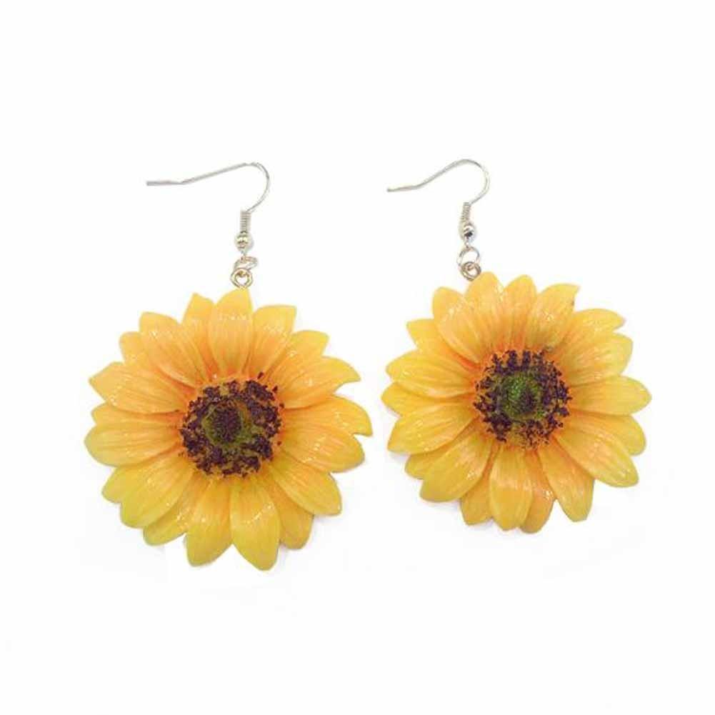 Big Sunflower Acrylic Dangle Earrings Beach Summer Flower Dangle Earrings, 1 Pair