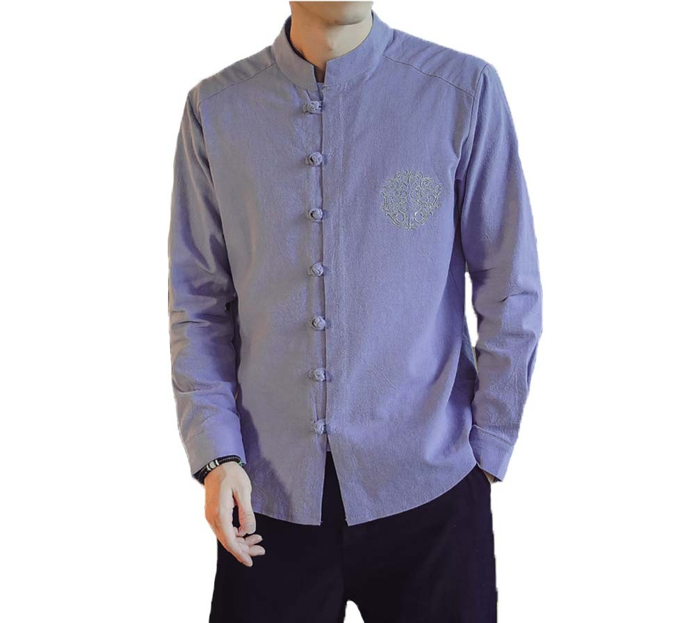 [#3]Mens Standing Collar Cotton and Linen Chinese Long Sleeve KungFu Cloth Men's Shirt Outerware, Purple
