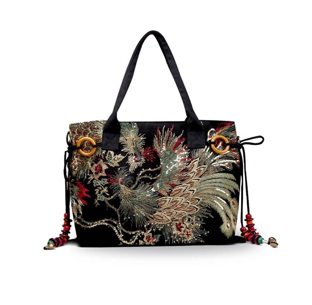 Ladies Handbag Embroidery Phoenix Pattern Large handbag Womens Purses Top handle Bag
