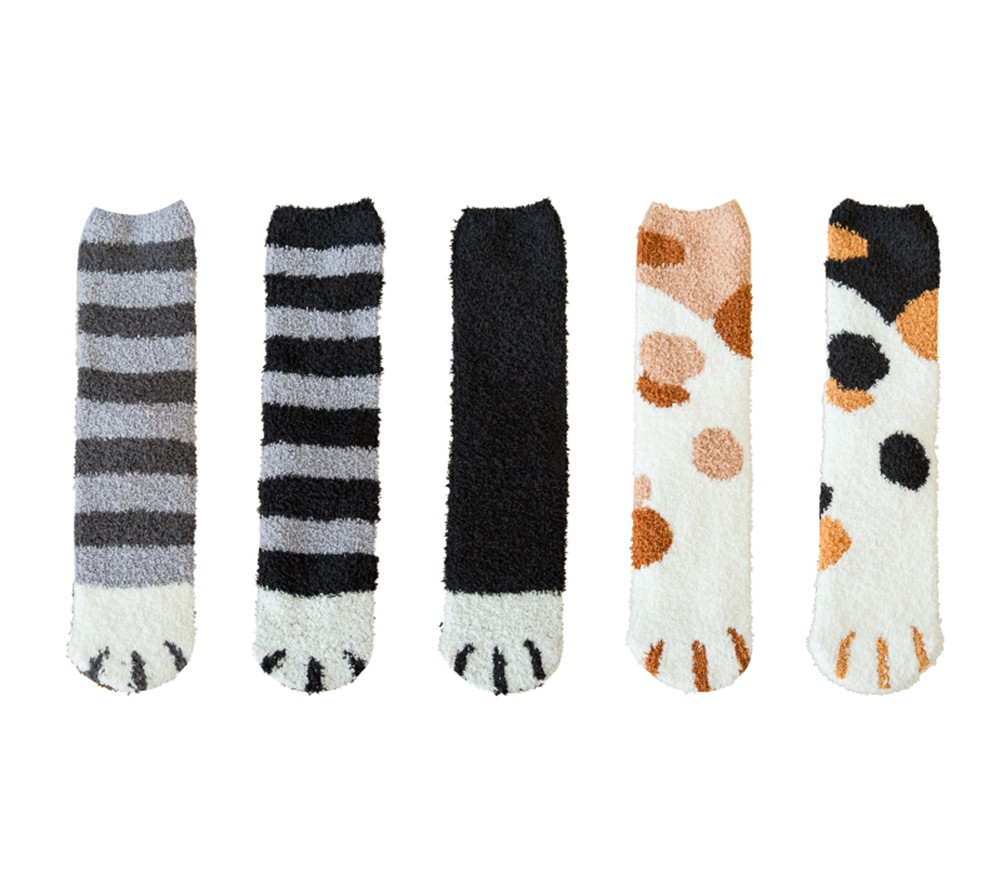 5 Pack Cute Colorful Cat Claw Design Plush Cozy Slipper Sock for Womens Winter Warm