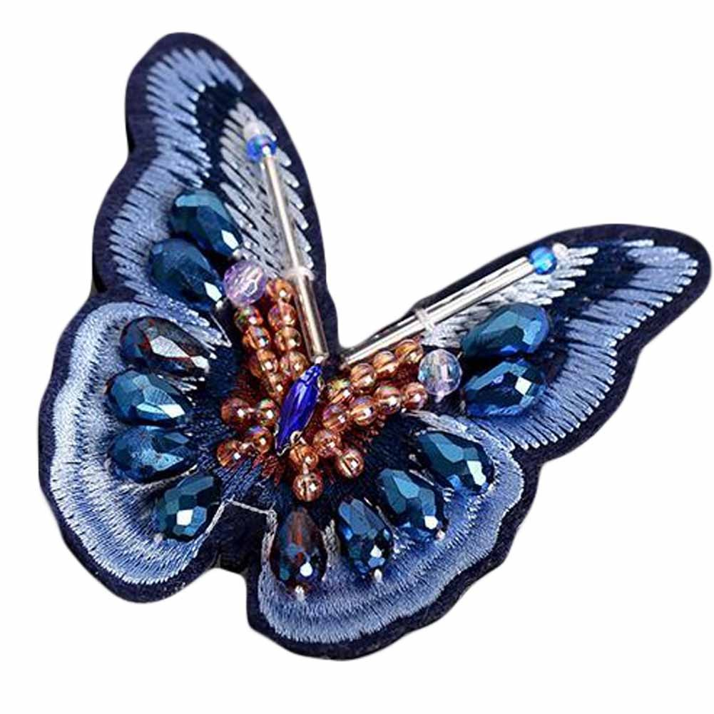 3 Pcs Blue Butterfly Embroidered Applique DIY Beaded Rhinestone Applique Patch Clothing Decoration Patches