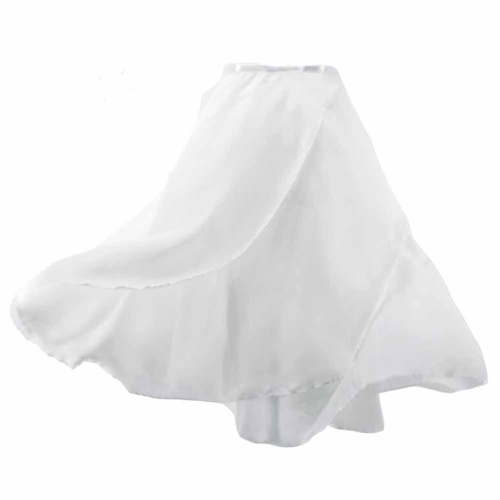 Women Double-Layer Chiffon Ballet Dance Wrap Skirt with Waist Tie, White 58cm