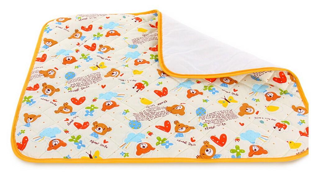 Toddler Waterproof Washable Diaper Changing Mat Pad(White Bear)-50*70cm