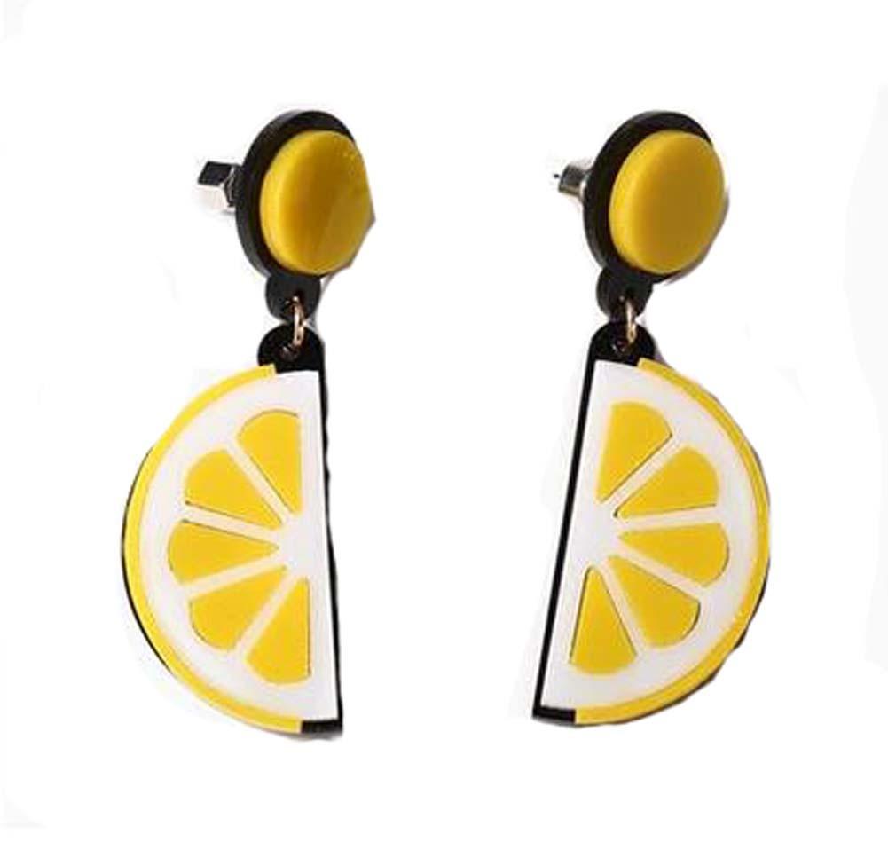 European Style Lemon Sweet Earrings Vintage Earrings, Yellow