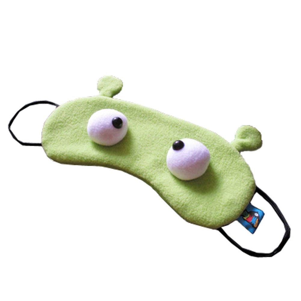 Set of 2 Creative Cartoon Eye Mask Funny Soft Eyeshade, Grass Green