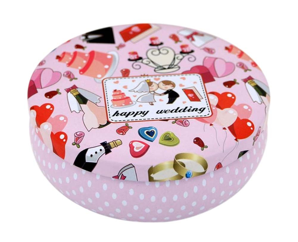 Round Cute Pill Boxes Candy Metal Case Storage Box, Pink Wedding