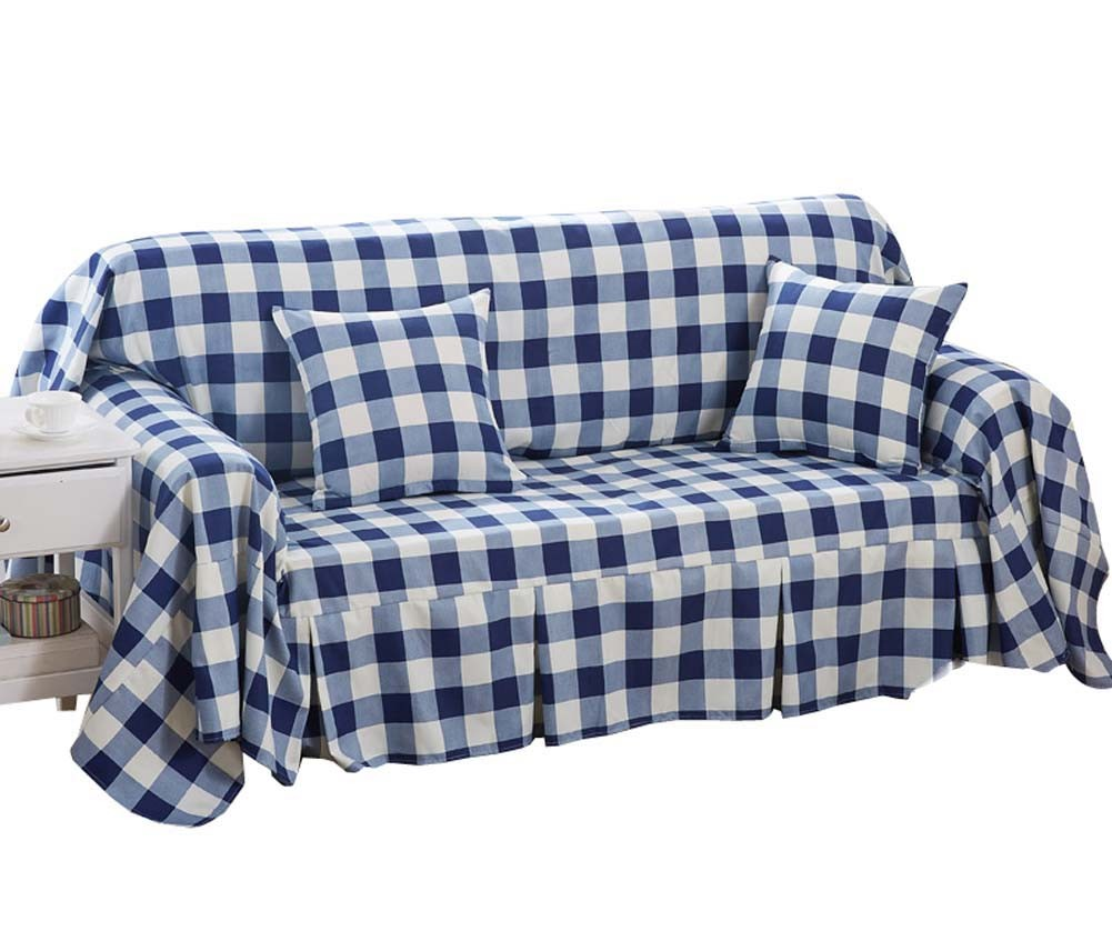 (Navy Checkered) Furniture Slipcover Sofa Protector Cover, 190x260cm/75x102inch