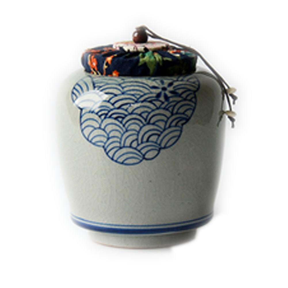 Creative Blue And White Porcelain Ceramic Tea Caddy Tea Container[E]