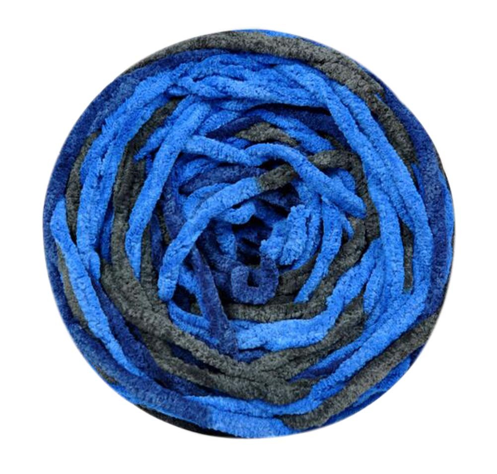 Set of 3 Knitted Cotton Yarns Hand-woven Scarf Mixed Color Soft Yarns, Blue
