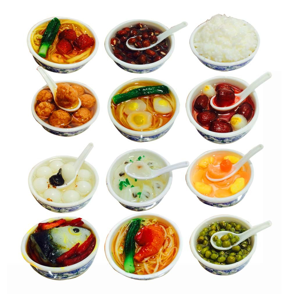 Set Of 12 Lovely Chinese Style Refrigerator Magnet Silica Gel Food Set