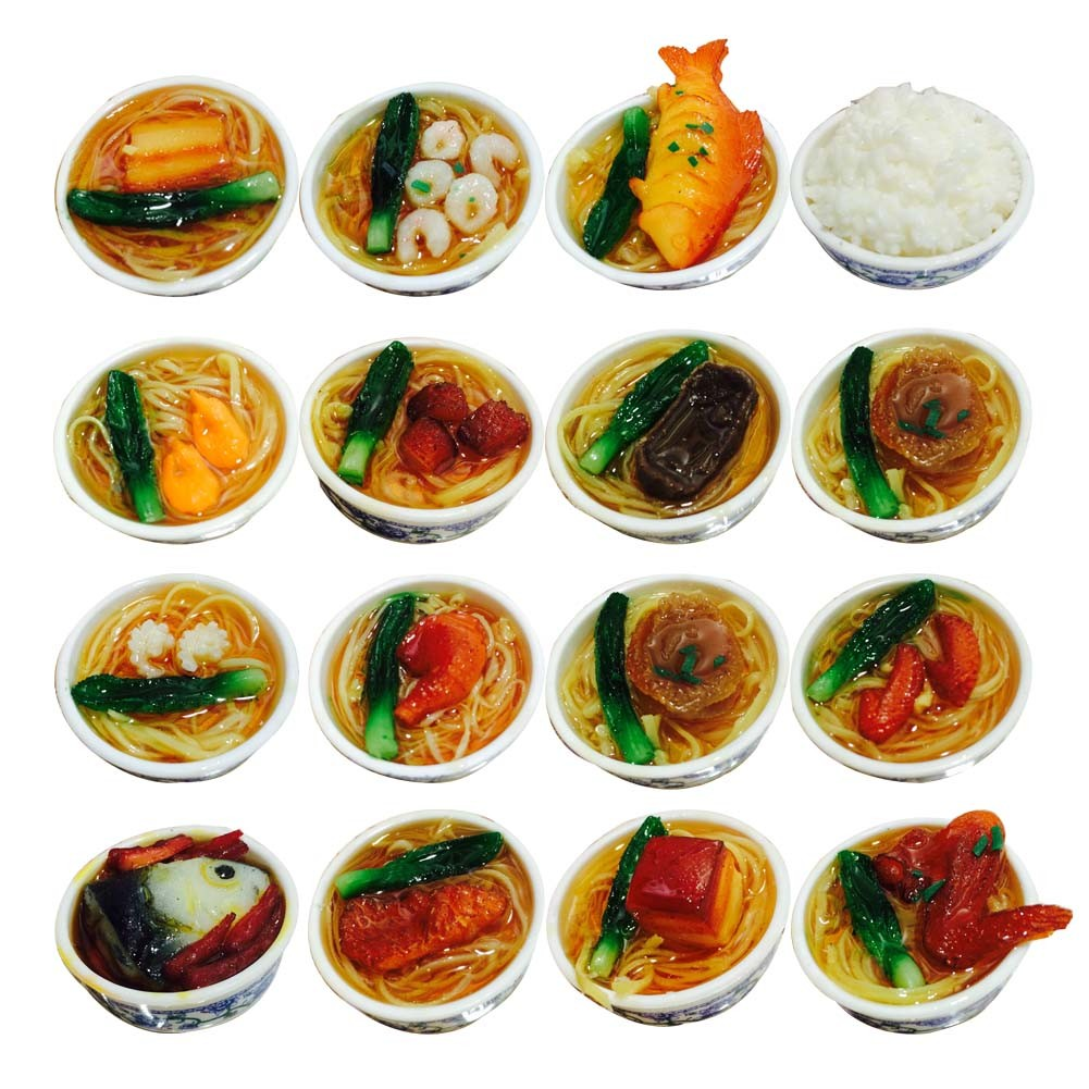 Set Of 12 Lovely Chinese Style Refrigerator Magnet Silica Gel Noodles Set