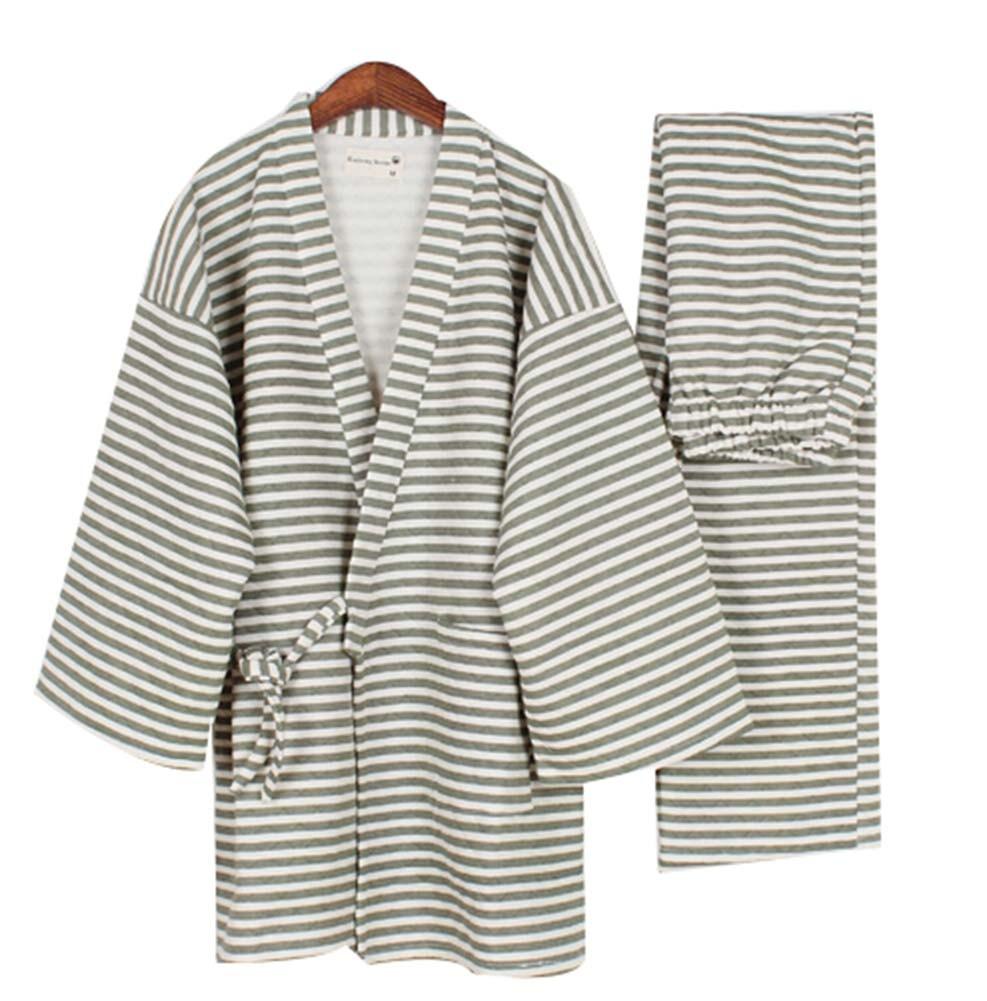 Stripe Men's Kimono Pajamas Cotton Air Layer Pajamas Suit Tracksuit Bathrobe
