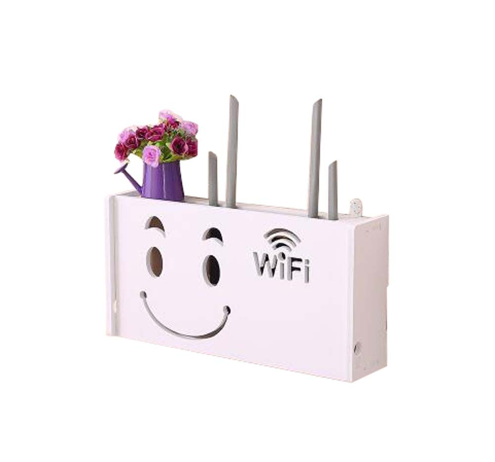 (Smiling Face) WiFi Router Storage Boxes Organizer, inner 38.5x17cm/15x6.6inch