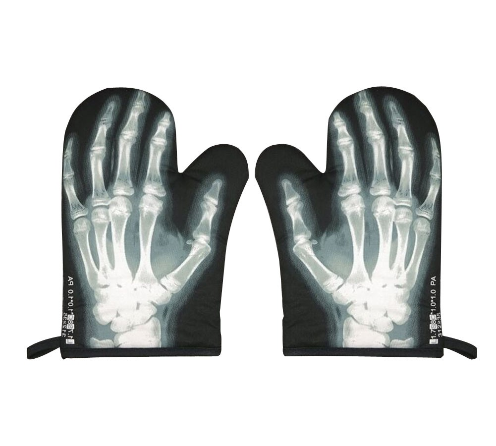 X-Ray Hand Bones Heat Insulation Gloves Oven Mitts for Kitchen, 1-Pair