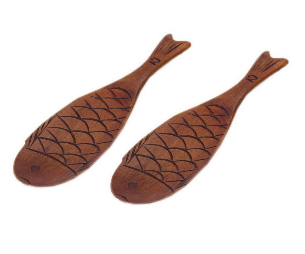 2 Pcs Japanese Style Wooden Fish Rice Paddles