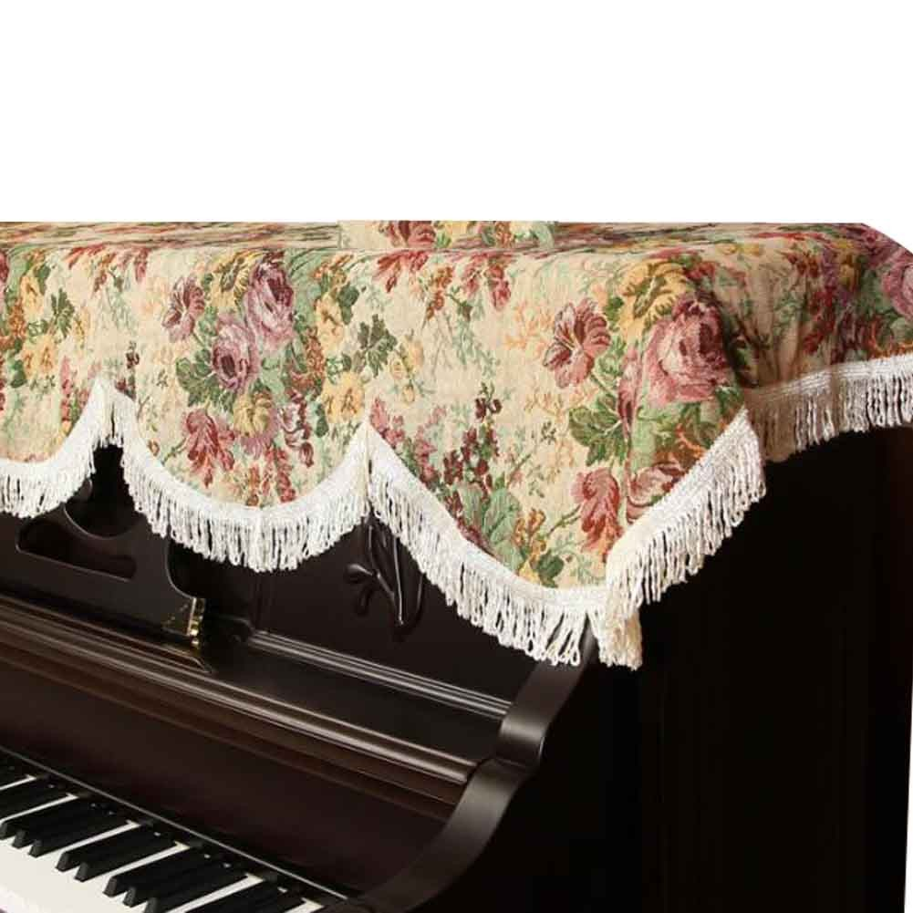 Cotton/Linen Floral Vintage Piano Cover Piano Cloth Upright Piano Dust Cover