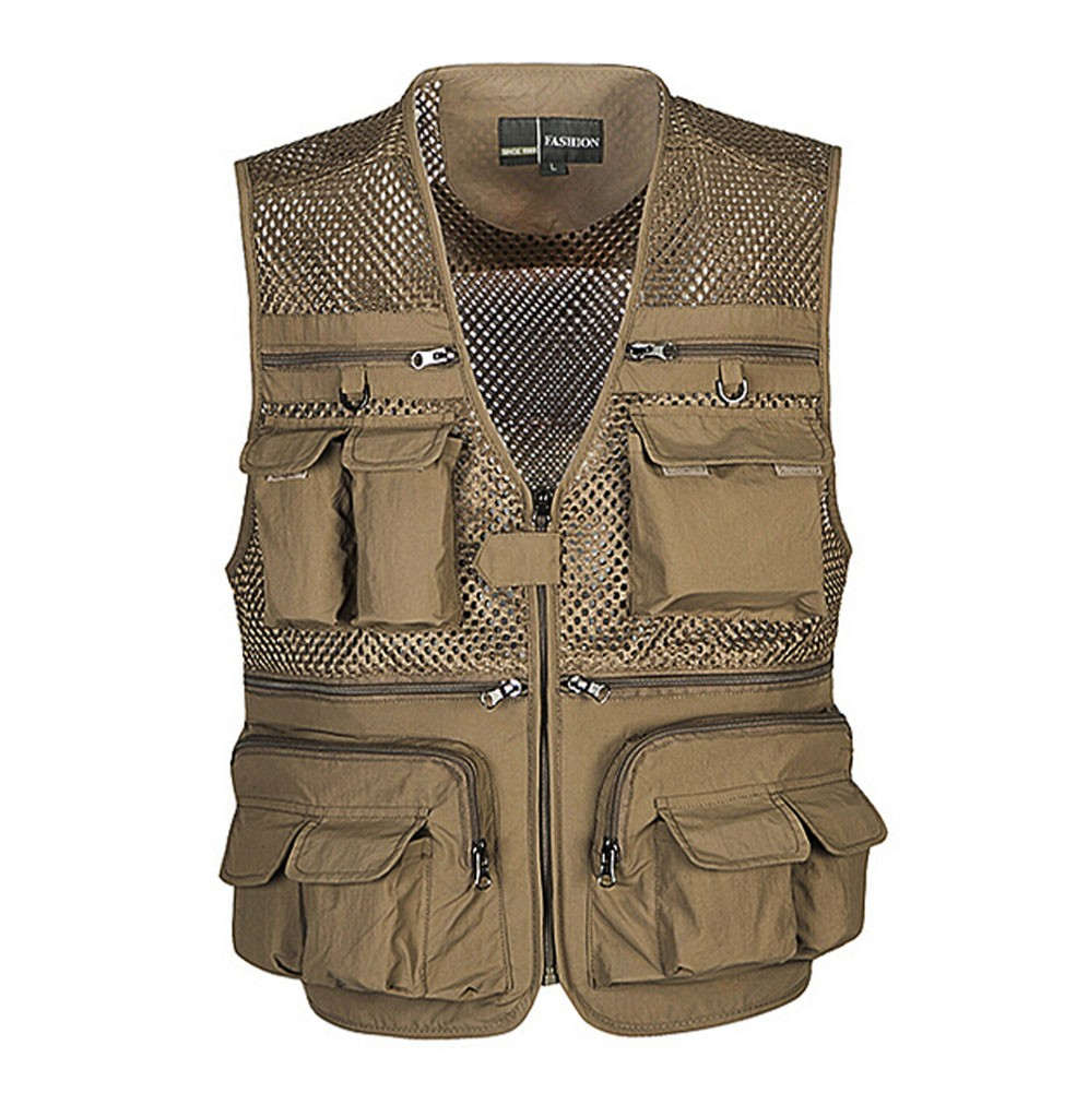 Breathable Mesh Outdoor Men Fishing Photographer Vest Waistcoat KHAKI, 4XL