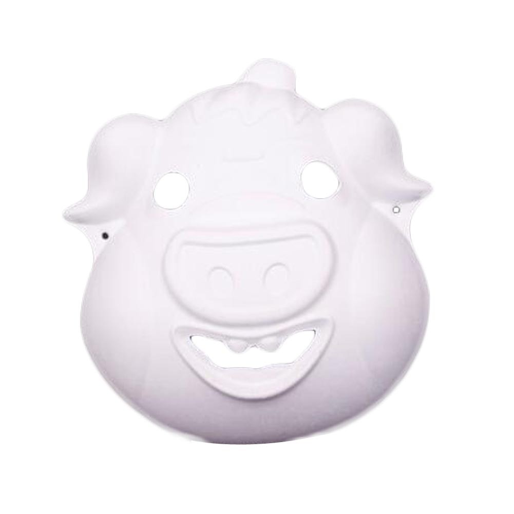 10 Pcs White Mask DIY Costume Mask Pig Mask Painting Mask Paper Blank Mask Draw