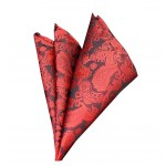 Red Patterned Formal Pocket Square Handkerchief 25*25 cm