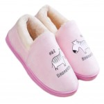 Slippers  Floor Slippers Family Cotton Warm Slippers Shoes-Zebra Pink