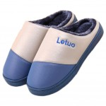 Waterproof Floor Slippers Family Non-slip Breathable Cotton Warm Slippers-Deep Blue