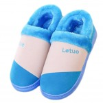 Slippers Family Non-slip Breathable Cotton Warm Slippers-Blue