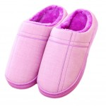 Slippers Family Non-slip Breathable Cotton Warm Slippers Shoes-Purple01