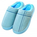 Slippers Family Non-slip Breathable Cotton Warm Slippers Shoes-Blue01