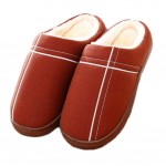 Slippers Family Non-slip Breathable Cotton Warm Slippers Shoes-Coffee01