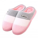 Slippers Mules Family Non-slip Thick- soled Cotton Warm Slippers-Pink