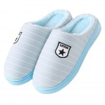Slippers Stripe Mules Family Non-slip Thick- soled Cotton Warm Slippers-Blue
