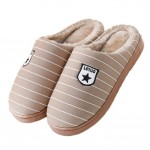 Slippers Stripe Mules Family Non-slip Thick- soled Cotton Warm Slippers-Camel