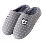Slippers Stripe Mules Family Non-slip Thick- soled Cotton Warm Slippers-Gray