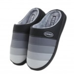 Slippers PU Mules Family Non-slip Thick- soled Cotton Warm Slippers-Gray