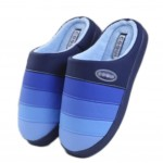 Slippers PU Mules Family Non-slip Thick- soled Cotton Warm Slippers-Deep Blue