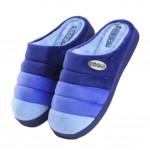 Slippers Velvet Mules Family Non-slip Cotton Warm Slippers-Deep Blue